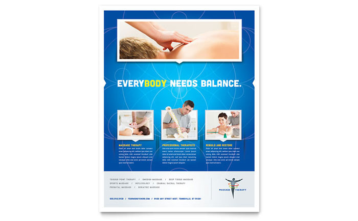 Chiropractor Massage Therapist Flyers Templates Graphic Designs