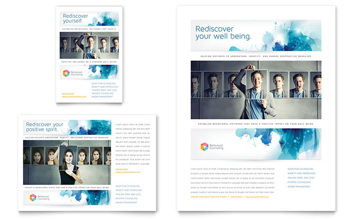 behavioral counseling flyer  u0026 ad template design