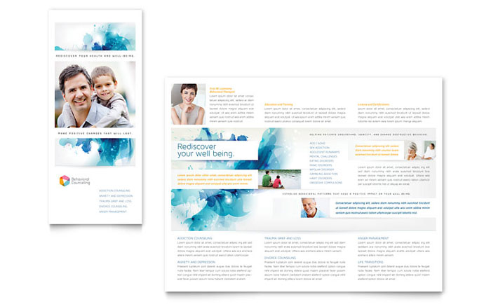 psychology mental health tri fold brochure templates