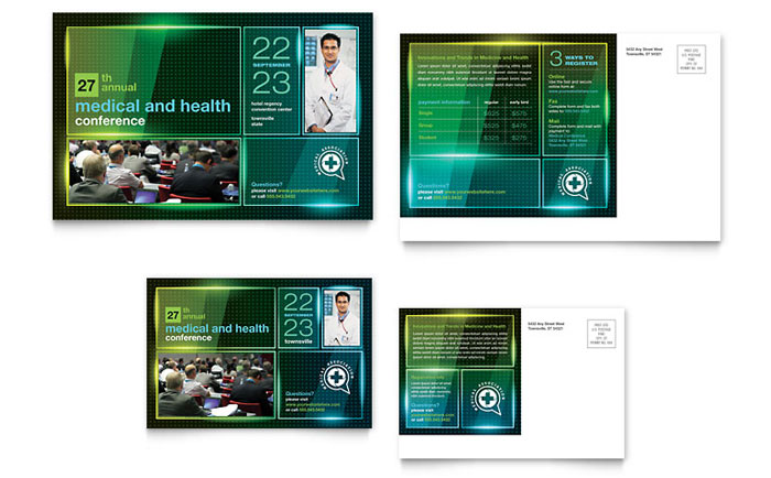 Medical Conference Postcard Template Design Download - InDesign, Illustrator, Word, Publisher, Pages