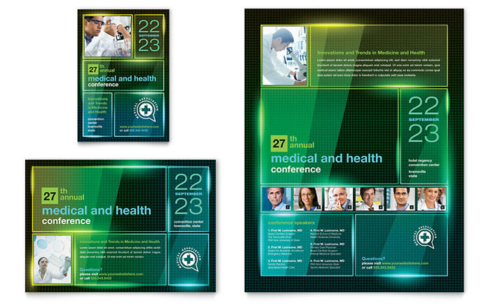 Medical Conference Flyer & Ad Template Design Download - InDesign, Illustrator, Word, Publisher, Pages