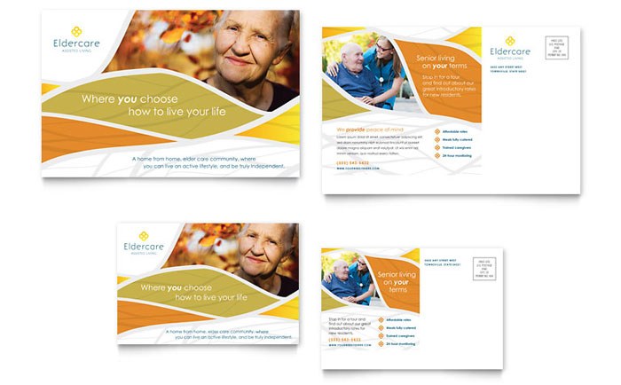 Assisted Living Postcard Template Design Download - InDesign, Illustrator, Word, Publisher, Pages