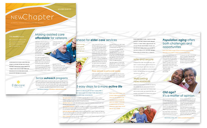 assisted living newsletter template design