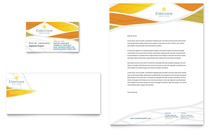 Assisted Living Business Card & Letterhead Template Design Download - InDesign, Illustrator, Word, Publisher, Pages