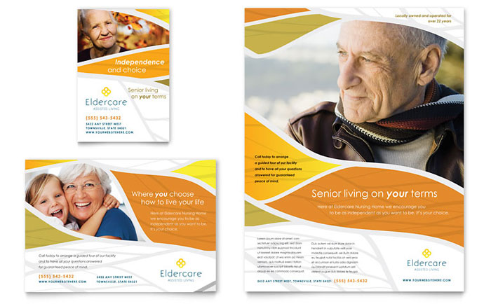Assisted living flyer ad template design for Ad designs