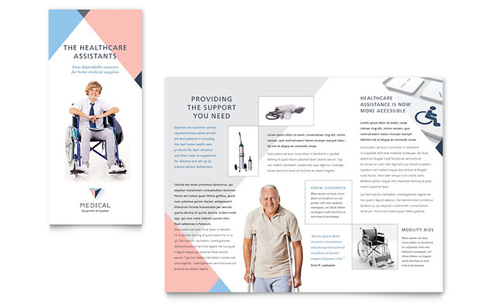 Disability medical equipment brochure template design for Health pamphlet template
