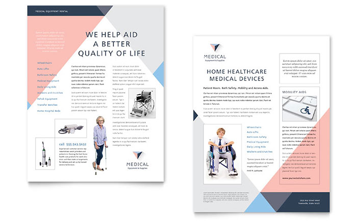 Disability Medical Equipment Datasheet Template Design Download - InDesign, Illustrator, Word, Publisher, Pages