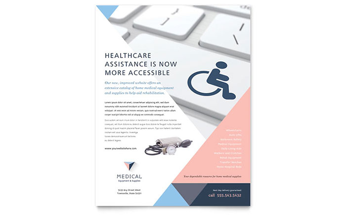 Disability Medical Equipment Flyer Template Design Download - InDesign, Illustrator, Word, Publisher, Pages