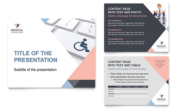 disability medical equipment powerpoint presentation template design, Presentation templates