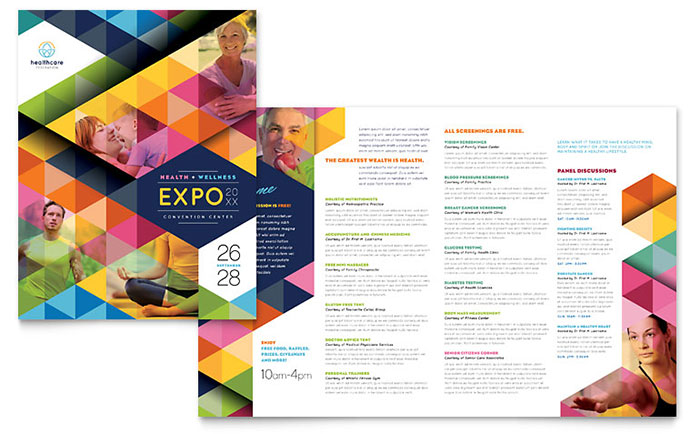 Health fair brochure template design for Free medical brochure templates