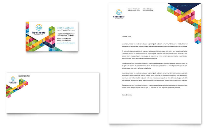 Health Fair Letterhead & Business Card Sample