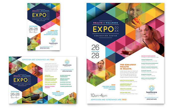 Health fair flyer ad template design for Ad designs