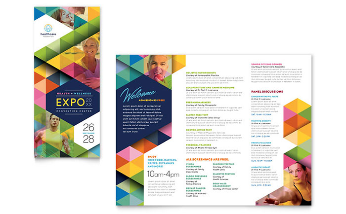 medical brochure design - health fair tri fold brochure template design