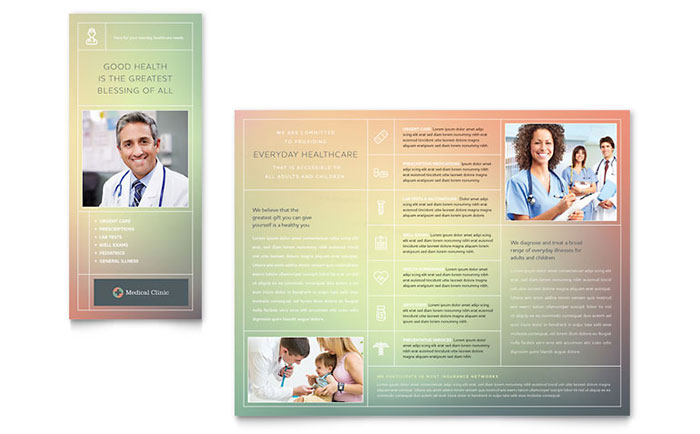 Medical clinic brochure template design for Health pamphlet template