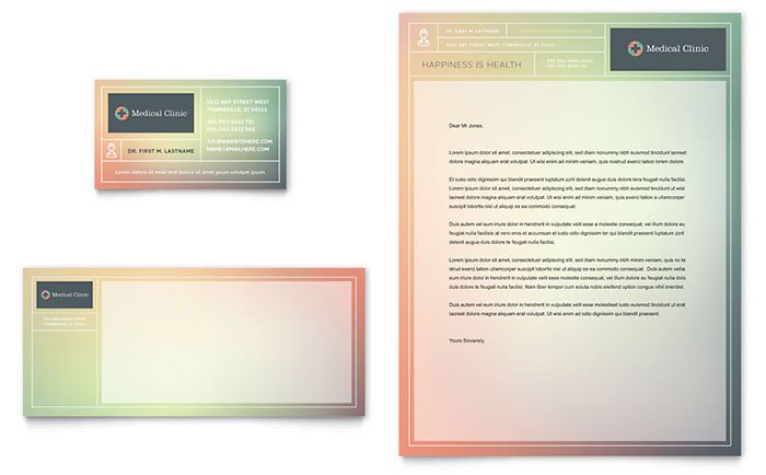 Medical Clinic Business Card & Letterhead Template Design Download - InDesign, Illustrator, Word, Publisher, Pages
