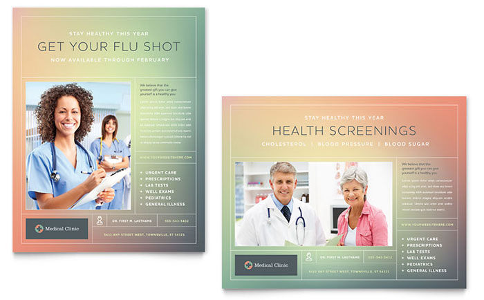 Medical Clinic Poster Template Design - Medical office brochure templates
