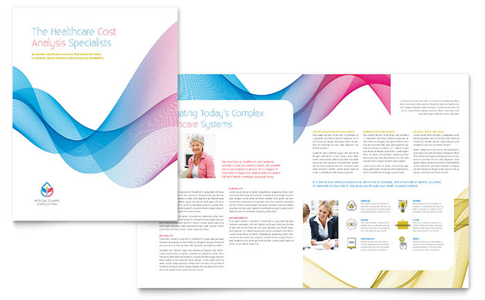Insurance consulting brochure template design for Word doc brochure template