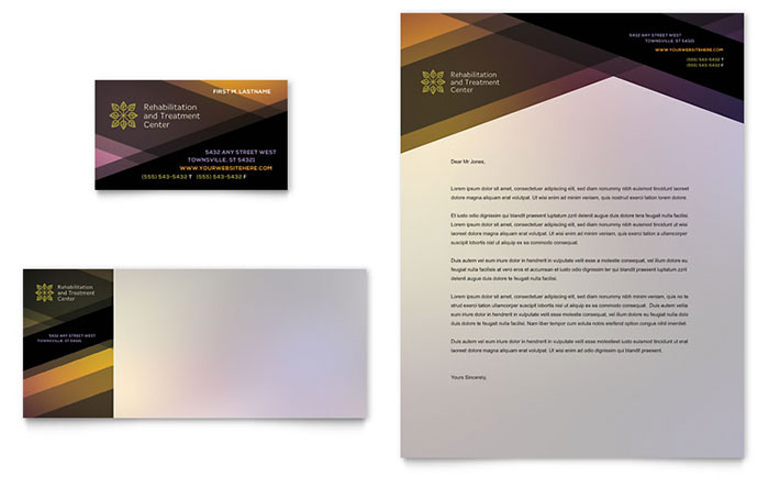 rehab center business card letterhead template design