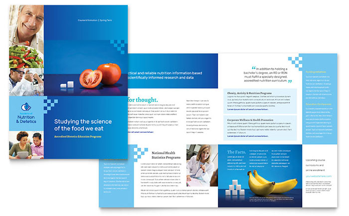 Dietitian brochure template design for Product brochure template word