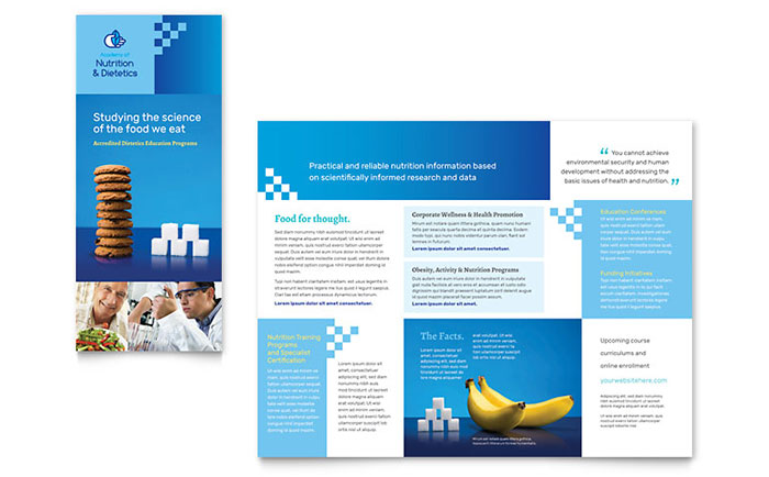 health pamphlet template - dietitian tri fold brochure template design