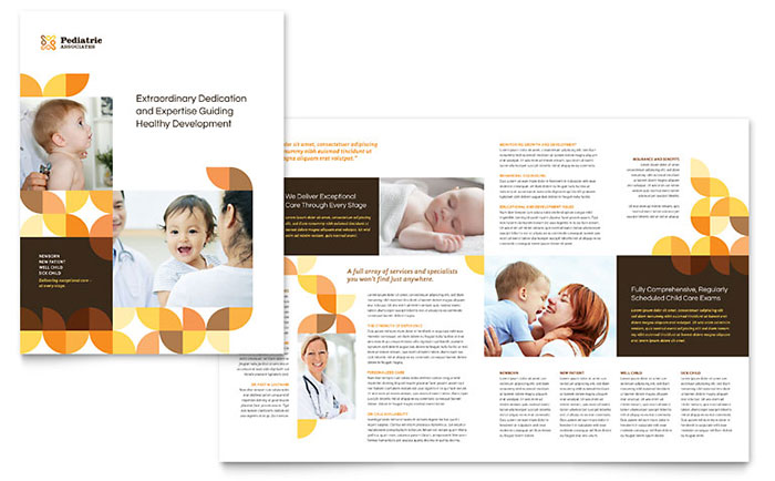 Pediatric Doctor Brochure Template Design - Bi fold brochure template publisher
