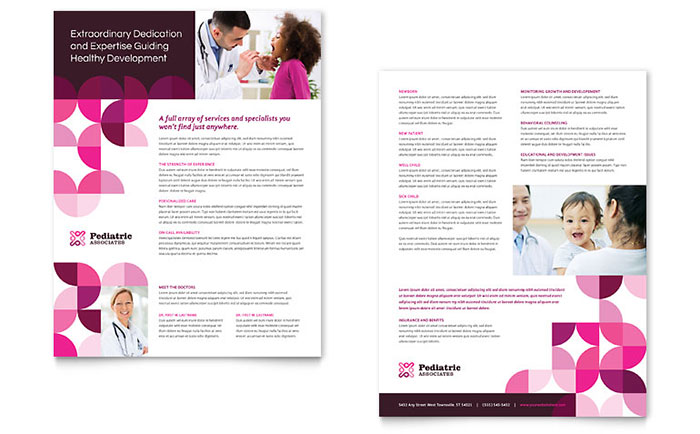 pediatric doctor datasheet template design