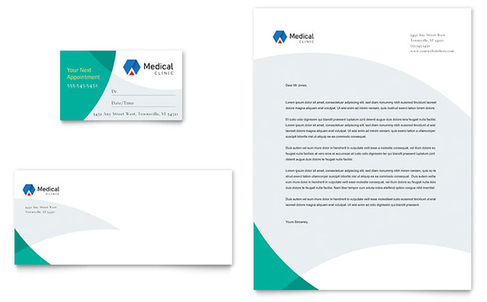 Doctor's Office Business Card & Letterhead Template Design Download - InDesign, Illustrator, Word, Publisher, Pages