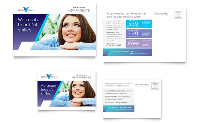 Dentist Postcard Template Design Download - InDesign, Illustrator, Word, Publisher, Pages
