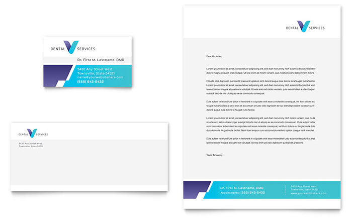Dentist Business Card & Letterhead Template Design Download - InDesign, Illustrator, Word, Publisher, Pages