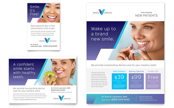 Dentist flyer ad template design for Paper ad design templates