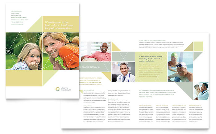 Health insurance brochure template design for Health pamphlet template