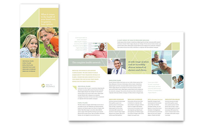 Health Insurance Tri Fold Brochure Template Design Download - InDesign, Illustrator, Word, Publisher, Pages