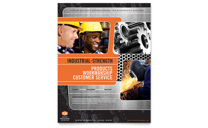 Manufacturing Engineering Flyer Template Download - InDesign, Illustrator, Word, Publisher, Pages