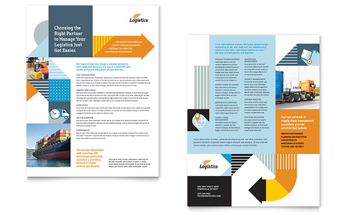 Logistics warehousing datasheet template design for Sales slick template