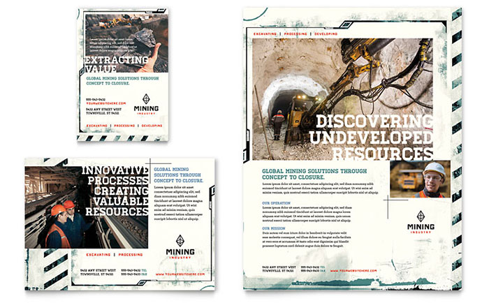 Mining Company Flyer & Ad Template Design Download - InDesign, Illustrator, Word, Publisher, Pages