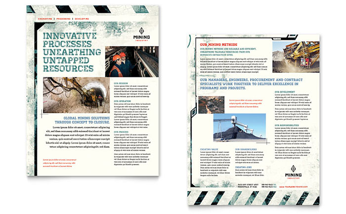 Mining Company Datasheet Template Download - InDesign, Illustrator, Word, Publisher, Pages