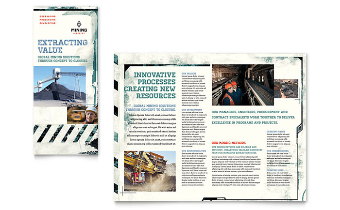 Mining Company Tri Fold Brochure Template Design - InDesign, Illustrator, Word, Publisher, Pages