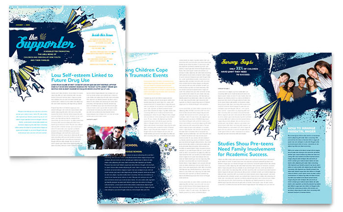 Child Advocates Newsletter Template Design Download - InDesign, Illustrator, Word, Publisher, Pages