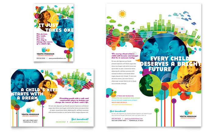 Youth program flyer ad template design for Event program template publisher