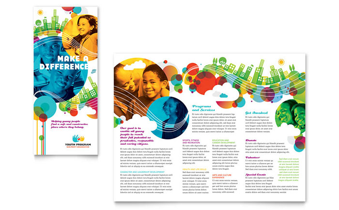 Youth program tri fold brochure template design for Free flyer templates publisher