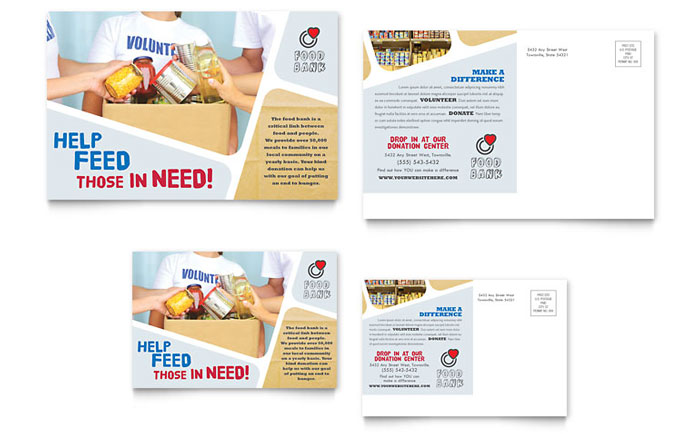 food bank volunteer postcard template design