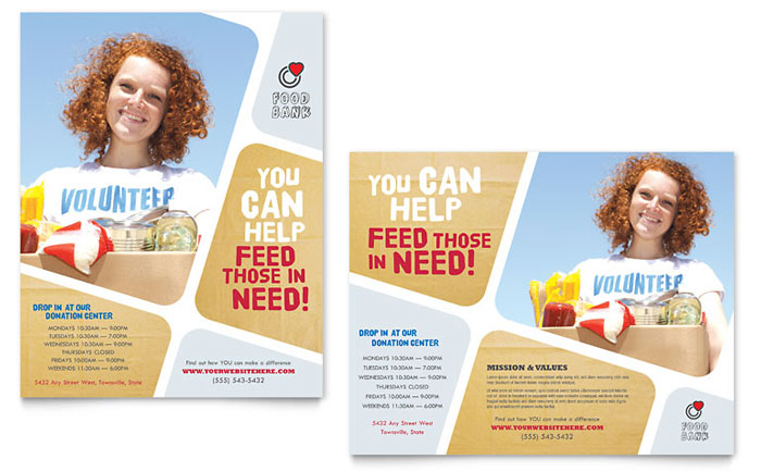 Food Bank Volunteer Poster Template Design - Volunteer flyer template