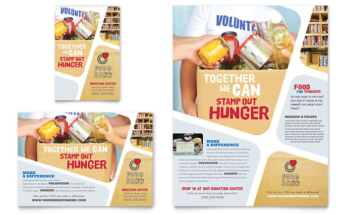 Food bank volunteer flyer ad template design for Free food brochure templates