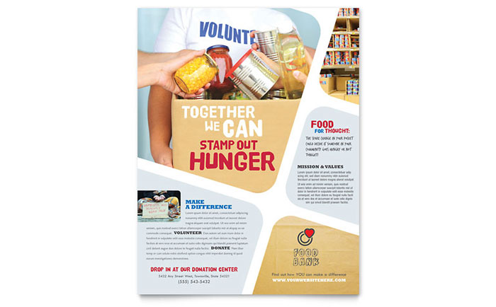 Food Bank Volunteer Flyer Template Design - Volunteer flyer template