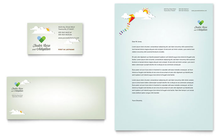 foster care  u0026 adoption business card  u0026 letterhead template