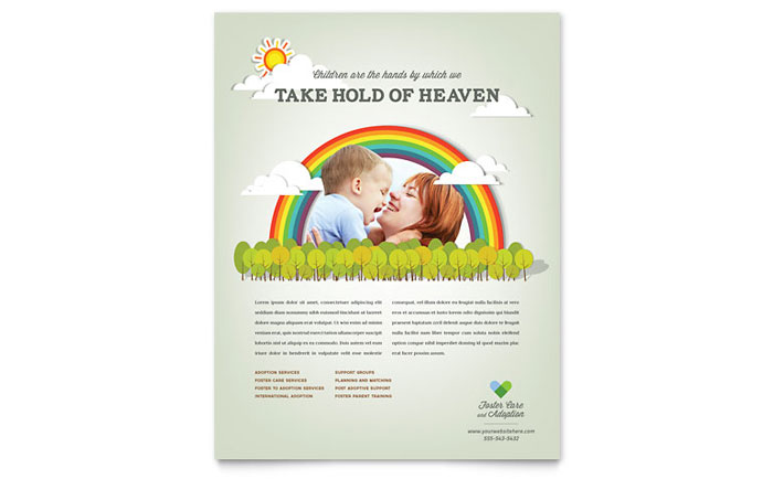 foster care  u0026 adoption flyer template design