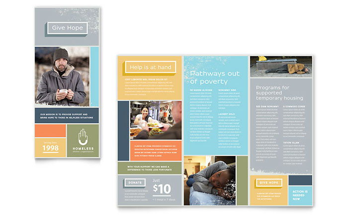 Homeless Shelter Brochure Template Design Download - InDesign, Illustrator, Word, Publisher, Pages