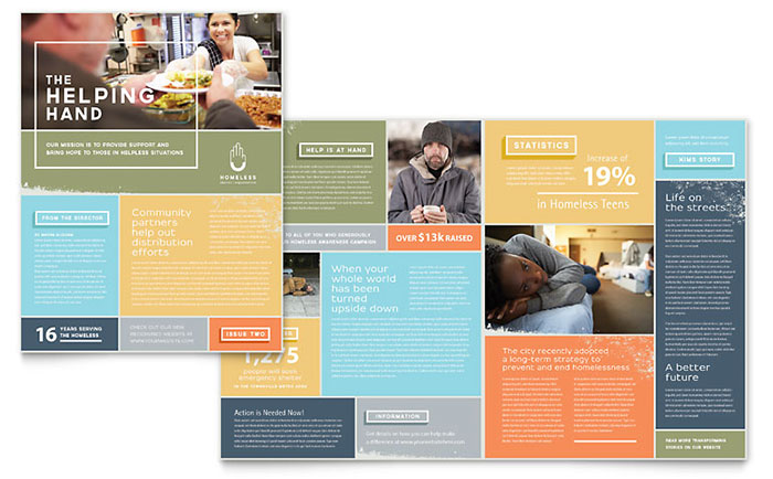 Homeless shelter newsletter template design for Free online newsletter templates pdf