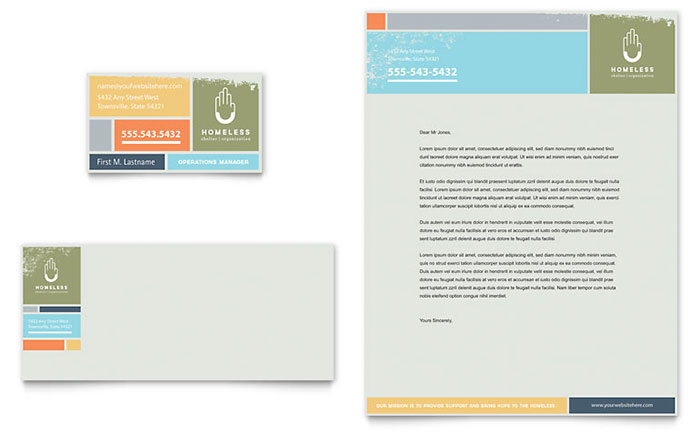 Homeless Shelter Business Card & Letterhead Template Design Download - InDesign, Illustrator, Word, Publisher, Pages