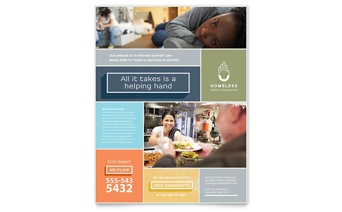 Homeless Shelter Flyer Template Design Download - InDesign, Illustrator, Word, Publisher, Pages
